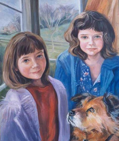 Smeeton Sisters Bella and Tilly - oil on canvas