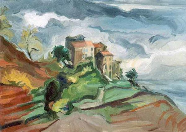 Village of S. Lucie, Corsica - oil on canvas