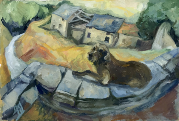 Hunting Dog in Velone - oil on paper