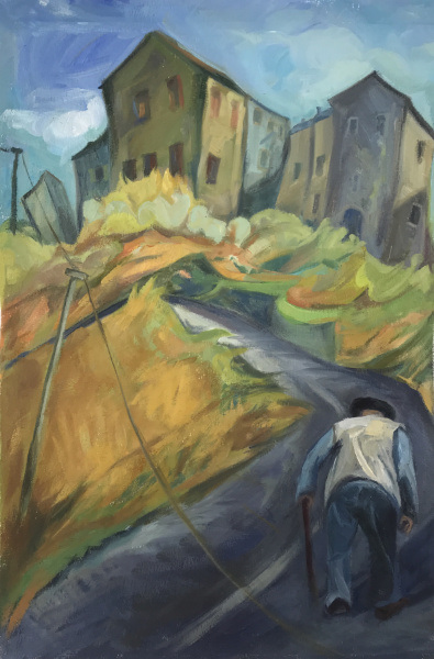 Old Man on Road to Fanu, Corsica - oil on paper