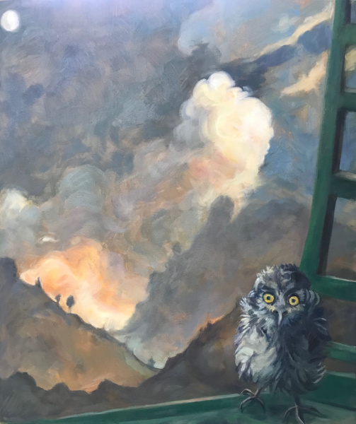 Startled Owl Against Corsican Sky - oil on canvas 2020