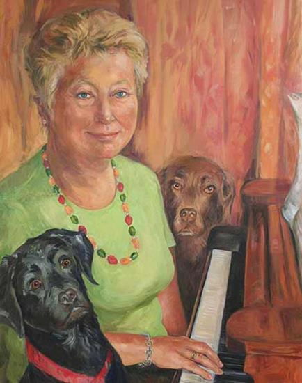 Gill Roache and Dogs - oil on canvas