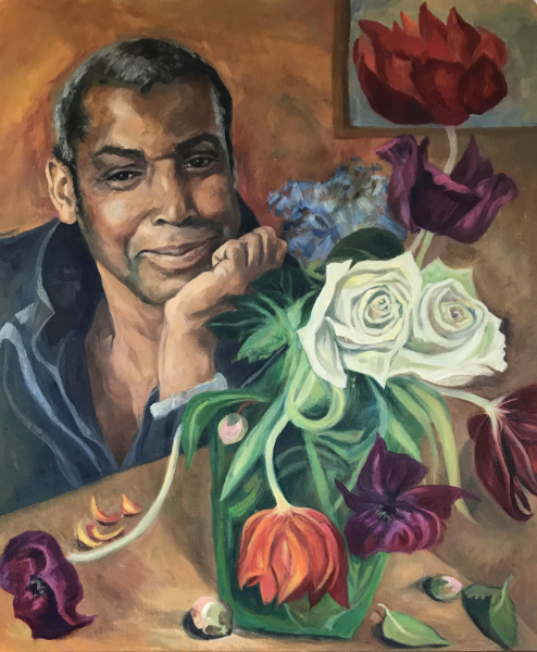 Aaron and Flowers - oil on board 2020