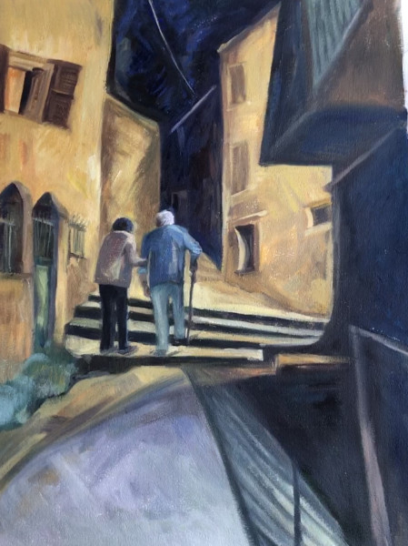 Gino coming home - oil on paper