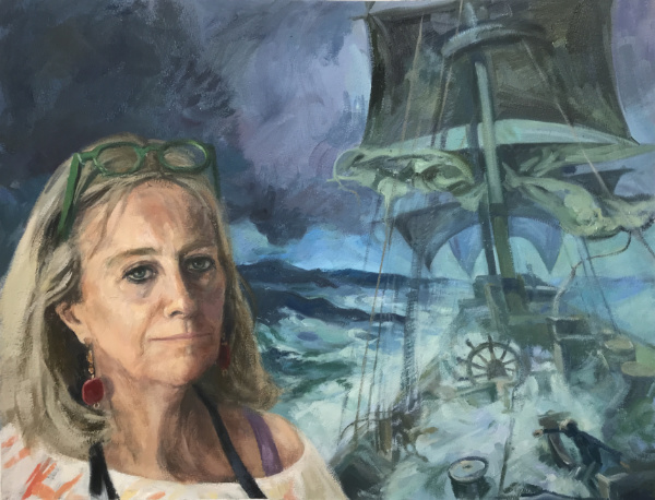 Self Portrait Against Storm at Sea by Gino - oil on paper