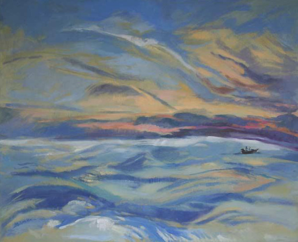 Early Morning Fishing Boat - oil on canvas