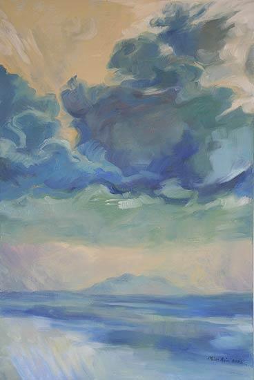 Green Sky Over Elba - oil on canvas