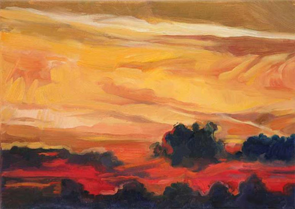 Orange Sky Over the Sea - oil on canvas