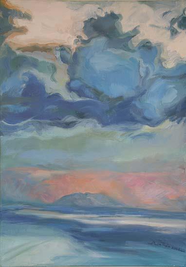 Pink Sky Over Elba - oil on canvas