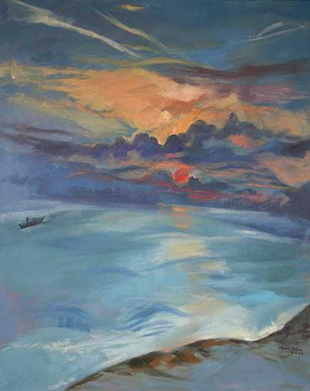 Sunrise and Boat Over Sea - oil on canvas