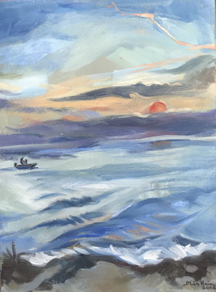 Sunrise Over the Sea, Corsica - oil on canvas