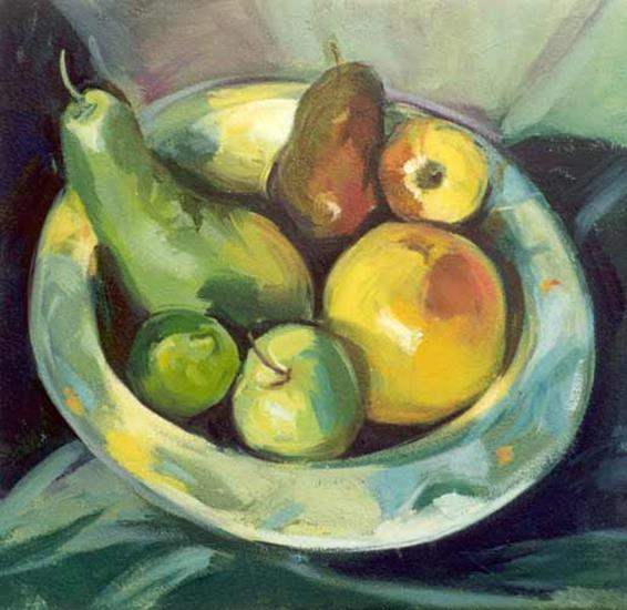 Apples and Pears - oil on canvas