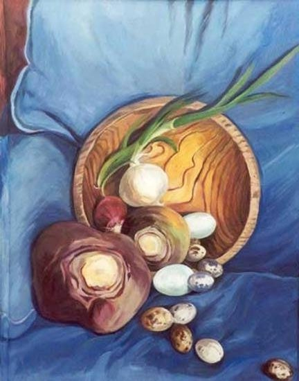 Sprouting Onion on Blue Chair - oil on canvas